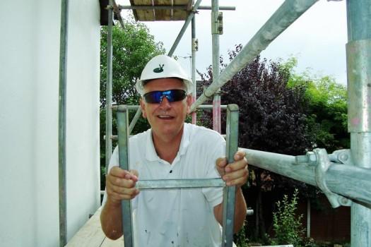 Jeff up a ladder